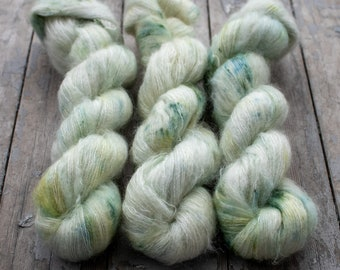 Mohair Silk Yarn, Hand Dyed, Speckled, Kid Silk Lace Weight, Brushed Mohair 50 g, Dandelion Mohair - Castaway *In Stock