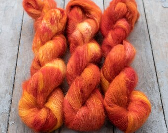 Mohair Silk Yarn, Hand Dyed, Speckled, Kid Silk Lace Weight, Brushed Mohair 50 g, Dandelion Mohair - Kyo *In Stock