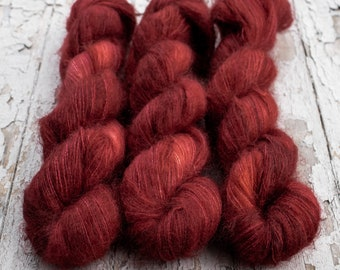 Mohair Silk Yarn, Hand Dyed, Tonal, Jewel Tone, Semi Solid, Kid Silk Lace, Brushed Mohair 50 g, Dandelion Mohair - Ruby Slippers *In Stock