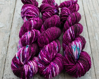 Super Bulky Yarn Merino Nylon, Hand Dyed Yarn, Speckled Yarn, Single Ply, Superwash Hand Dyed, Maizy Super Bulky - Evermore *In Stock
