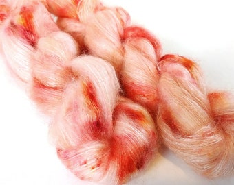 Mohair Silk Yarn, Hand Dyed, Speckled, Kid Silk Lace Weight, Brushed Mohair 50 g, Dandelion Mohair - Peachy Keen *In Stock