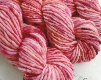 Super Bulky Yarn Merino Nylon, Hand Dyed Yarn, Speckled Yarn, Single Ply, Superwash Hand Dyed, Maizy Super Bulky - Rouge *In Stock