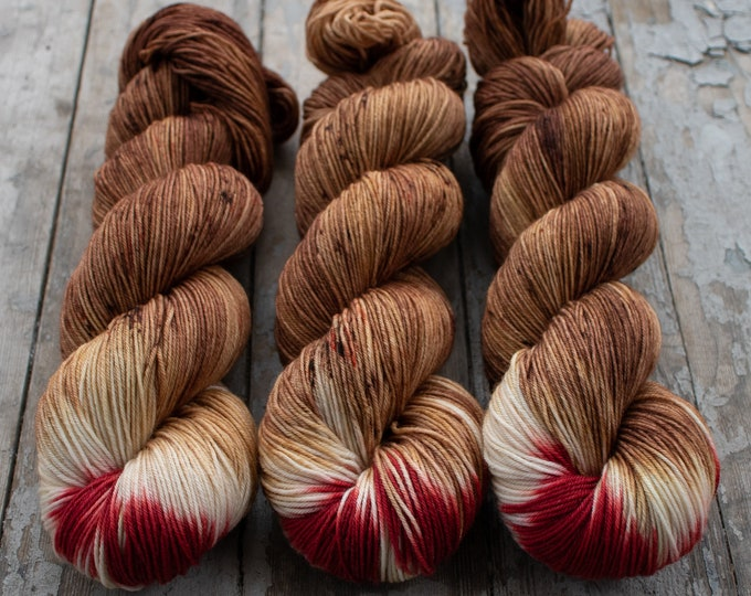 Featured listing image: Sock Yarn, Hand Dyed, Speckled, Superwash Merino Nylon Fingering Weight 100 g, Staple Sock - Rudolph *In Stock
