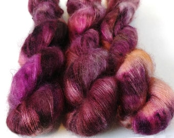 Mohair Silk Yarn, Hand Dyed, Speckled, Kid Silk Lace Weight, Brushed Mohair 50 g, Dandelion Mohair - Elton *In Stock