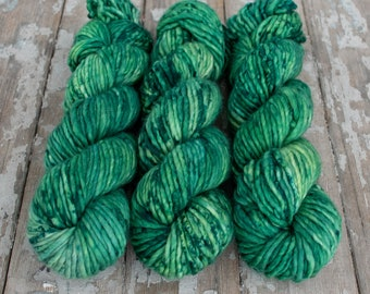 Super Bulky Yarn Merino Nylon, Hand Dyed Yarn, Speckled, Semi Solid, Single Ply, Superwash Hand Dyed, Maizy Super Bulky - Emerald *In Stock