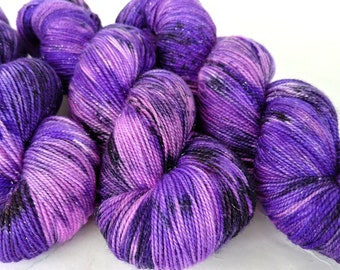 Sparkle Sock Yarn, Hand Dyed, Speckled, Superwash Merino Nylon, Fingering Weight, Pixie Sock 100 g / 438 yds - Purple People Eater *In Stock