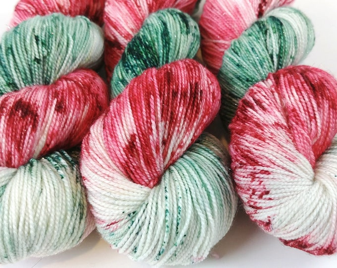 Featured listing image: Sparkle Sock Yarn, Hand Dyed, Speckled, Superwash Merino Nylon, Fingering Weight, Pixie Sock 100 g / 438 yds - Santa Claus Lane *In Stock