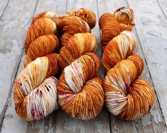 Worsted Weight Yarn, Hand Dyed, Speckled, Superwash Merino, Hand Dyed Yarn 100 g/218 yds, Worsted Yarn- Nothing Rhymes With Orange *In Stock