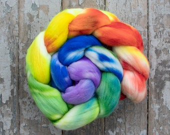 Rambouillet Hand Dyed Roving (Combed Top) Hand Painted, Spinning Roving, Spinning, Felting Wool, American Wool 4 oz - Neon Rainbow