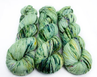 Speckled Sock Yarn, Hand Dyed, Speckled, Superwash Merino Nylon Fingering Weight 100 g, Staple Sock - Lichen *In Stock
