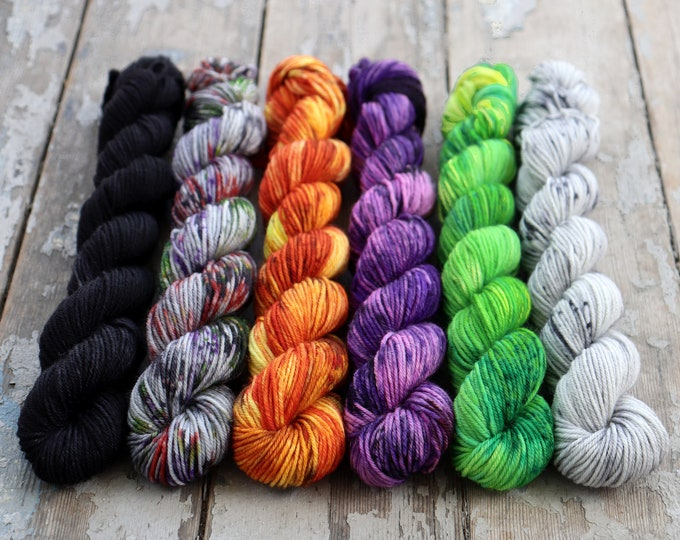 Featured listing image: Mini Skein Set, Sock Yarn, Hand Dyed, Speckled, 6 - 20g Mini Skeins, Fingering Weight 120g 552 yds Staple Sock - Halloween Set *In Stock