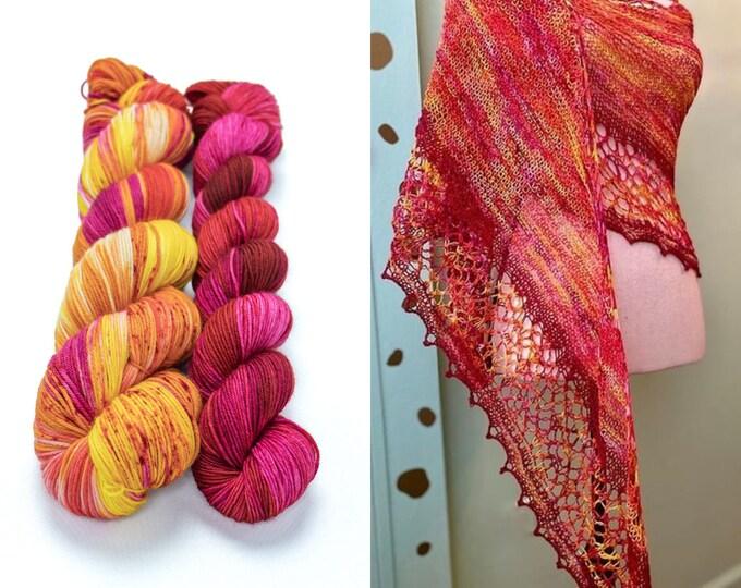 Featured listing image: Fingering Weight Yarn Kit 100g & 50g with Optional Shawl Pattern, Hand Dyed, Sock Yarn, Superwash Merino Nylon - Plumeria