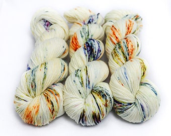 Hand Dyed Sock Yarn, Speckled, Superwash Merino Nylon Fingering Weight 100 g, Staple Sock - Harvest Moon *In Stock