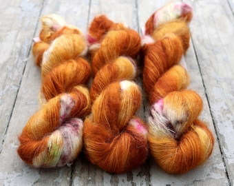Mohair Silk Yarn, Hand Dyed, Speckled, Kid Silk Lace Weight, Brushed Mohair 50 g, Dandelion Mohair - Nothing Rhymes With Orange *In Stock