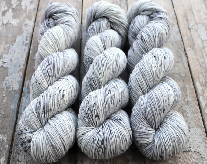 Featured listing image: Speckled Sock Yarn Superwash Merino Nylon Fingering Weight Hand Dyed 100 g - Ghost *In Stock