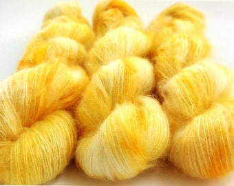 Mohair Silk Yarn, Hand Dyed, Speckled, Kid Silk Lace Weight, Brushed Mohair 50 g, Dandelion Mohair - Belle *In Stock