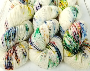 Sock Yarn, BFL Nylon, Hand Dyed Yarn, Speckled, Fingering Weight,  BFL Staple Sock 100 g / 460 Yards - Pixie Dust *In Stock