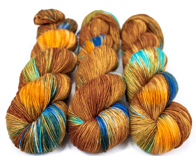 Featured listing image: Sock Yarn, Hand Dyed, Variegated, Multi Colored, Superwash Merino Nylon Fingering Weight 100 g, Staple Sock - Tigrex *In Stock