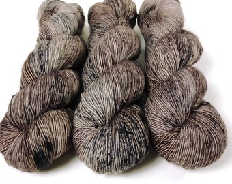 Fingering Yarn Singles Hand Dyed, Speckled, Superwash Merino, Fingering Weight Hand Dyed 100g, Shire Singles - Mushroom *In Stock