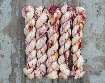Mini Skein Sock Yarn, Hand Dyed, Speckled Sock Yarn, Superwash Merino Nylon Fingering Weight 20g, Staple Sock  - Rose Water *In Stock