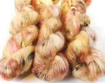 Mohair Silk Yarn, Hand Dyed, Speckled, Kid Silk Lace Weight, Brushed Mohair 50 g, Dandelion Mohair - Pop The Bubbly *In Stock