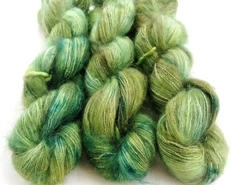 Mohair Silk Yarn, Hand Dyed, Speckled, Kid Silk Lace Weight, Brushed Mohair 50 g, Dandelion Mohair - Mistletoe *In Stock