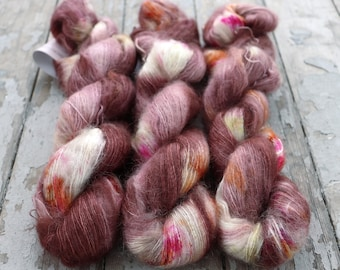Mohair Silk Yarn, Hand Dyed, Speckled, Kid Silk Lace Weight, Brushed Mohair 50 g, Dandelion Mohair - Rhymes With Grove *In Stock