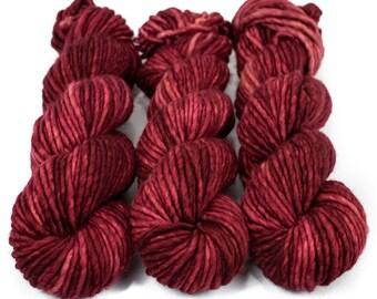 Super Bulky Yarn Merino Nylon, Hand Dyed Yarn, Semi Solid, Single Ply, Superwash Hand Dyed, Maizy Super Bulky - Ruby Slippers *In Stock