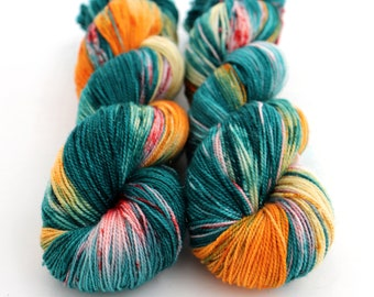 Sparkle Sock Yarn, Hand Dyed, Speckled, Superwash Merino Nylon, Fingering Weight, Pixie Sock 100 g / 438 yds - Under The Sea *In Stock