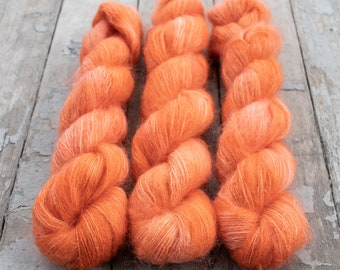 Mohair Silk Yarn, Hand Dyed, Semi Solid, Tonal, Kid Silk Lace Weight, Brushed Mohair 50 g, Dandelion Mohair - Papaya *In Stock