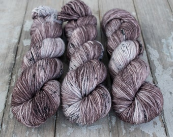 Worsted Weight Yarn, Hand Dyed, Speckled, Superwash Merino, Hand Dyed Yarn 100 g/218 yds, Worsted Yarn- Mushroom *In Stock