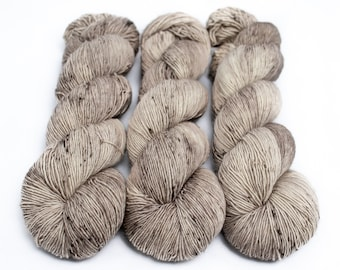 Fingering Yarn Singles Hand Dyed, Specked, Superwash Merino, Fingering Weight Hand Dyed 100g, Shire Singles - Crimini *In Stock