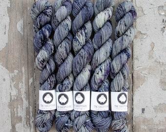 Mini Skein Sock Yarn, Hand Dyed, Speckled Sock Yarn, Superwash Merino Nylon Fingering Weight 20g, Staple Sock  - Yuki *In Stock