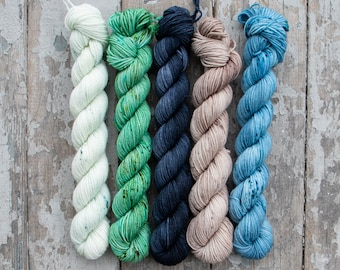 Gradient Set, Sock Yarn, Hand Dyed, Speckled, Superwash Merino Nylon, Fingering Weight 100g, Staple Sock - Sea Shore *In Stock