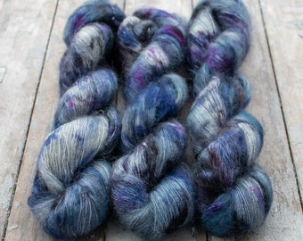 Mohair Silk Yarn, Hand Dyed, Speckled, Kid Silk Lace Weight, Brushed Mohair 50 g, Dandelion Mohair - Yuki *In Stock