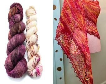 Fingering Weight Yarn Kit 100g & 50g with Optional Shawl Pattern, Hand Dyed, Sock Yarn, Superwash Merino Nylon - Elton