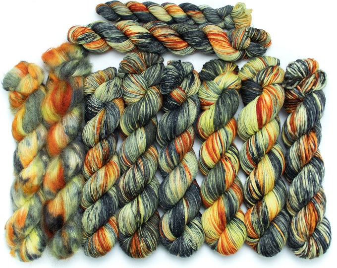 Featured listing image: Yarn of the Month - Scaredy Cat - Choose your base - Sock, Worsted, MCN, Alpaca, Super Bulky, Sport, Mohair, Singles, Sparkle Sock