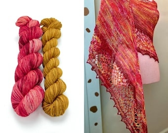 Fingering Weight Yarn Kit 100g & 50g with Optional Shawl Pattern, Hand Dyed, Sock Yarn, Superwash Merino Nylon - Nibelheim