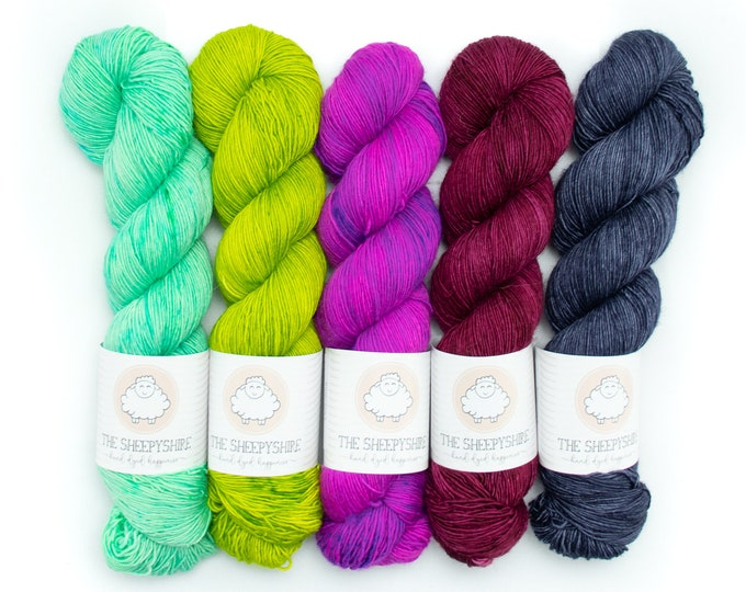 Featured listing image: Shawlogrophy MKAL Set, 5 Single Ply Skein Sock Set, Hand Dyed, Speckled, Superwash Merino, Fingering Weight 100g, Shire Singles - Neon Pop