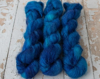 Mohair Silk Yarn, Hand Dyed, Speckled, Kid Silk Lace Weight, Brushed Mohair 50 g, Dandelion Mohair - Sapphire *In Stock