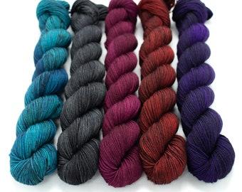 50g Skein Sock Yarn Set, Sock Yarn, Halloween, Hand Dyed, Speckled, Superwash Merino, Fingering Weight Staple Sock 5 skeins- Vampire's Den