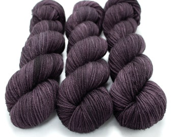 Worsted Weight Yarn, Hand Dyed, Semi-solid, Superwash Merino, Hand Dyed Yarn 100 g/218 yds, Worsted Yarn- I Scream For Aubergine *In Stock