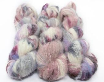 Suri Alpaca Silk Yarn, Hand Dyed, Speckled, Alpaca Silk Lace Weight, Brushed Alpaca 50 g, Alpaca Floof - Unicorn Farts *In Stock