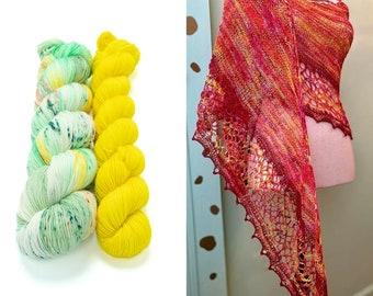 Fingering Weight Yarn Kit 100g & 50g with Optional Shawl Pattern, Hand Dyed, Sock Yarn, Superwash Merino Nylon - Cosmic Stardust