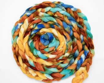 Corriedale Alpaca Hand Dyed Pin Drafted Roving, Hand Painted, Spinning Roving, Felting Wool, American Wool 4 oz - Tigrex
