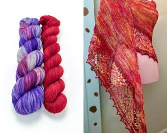 Fingering Weight Yarn Kit 100g & 50g with Optional Shawl Pattern, Hand Dyed, Sock Yarn, Superwash Merino Nylon - Posimistic