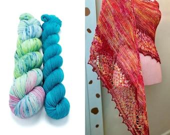 Fingering Weight Yarn Kit 100g & 50g with Optional Shawl Pattern, Hand Dyed, Sock Yarn, Superwash Merino Nylon - Water Lily