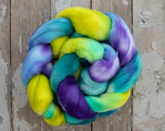 Merino Hand Dyed Roving (Combed Top) Hand Painted, Spinning Roving, Spinning Combed Top, Felting Wool 4 oz - Strut