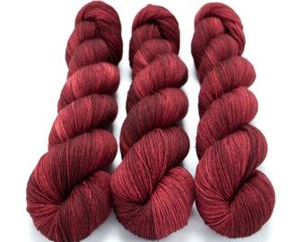 Sock Yarn, Hand Dyed, Semi Solid, Superwash Merino Nylon Fingering Weight 100 g, Staple Sock - Ruby Slippers *In Stock