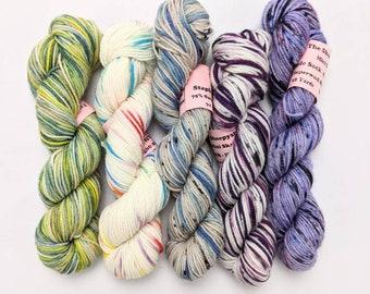 Mini Skein Sock Yarn, Hand Dyed, Speckled Sock Yarn, Superwash Merino Nylon Fingering Weight 20g, Staple Sock  -  *In Stock